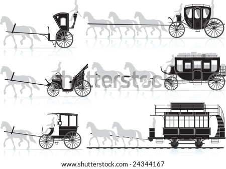 Silhouette of old horse-drawn carriages from the sled.