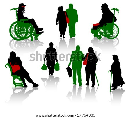 Silhouette of old people and disabled persons stock vector