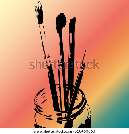 Silhouette of paintbrushes in a jar against multicolored gradient background