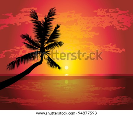 Silhouette of palm on a tropical beach - stock vector