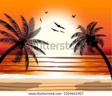 Silhouette Of Palm Tree On Beach Sun With Reflection In Water And Seagulls Sunset