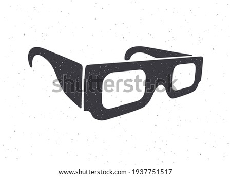 silhouette of paper 3d glasses
