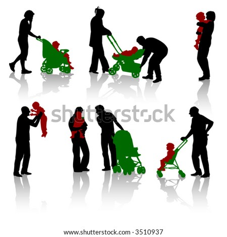 Silhouette of parents and children. Vector.