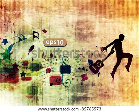 silhouette of passionate guitarist dancing in the grunge design poster.