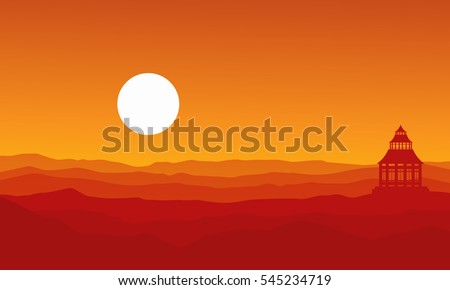 silhouette of pavilion on