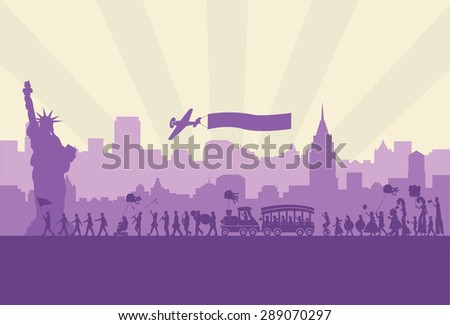 Silhouette of people celebrating Independence day