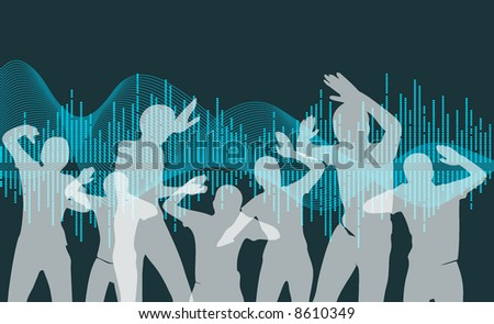 silhouette of people dancing on music wave background - blue