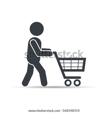 Silhouette of people out shopping with supermarket cart. Man shopping icon design, vector.