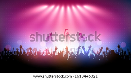 Silhouette of people raise hand up in concert with rock star band playing guitar on stage and digital pattern on blue pink color background ストックフォト ©