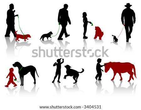Silhouette of people with dogs.