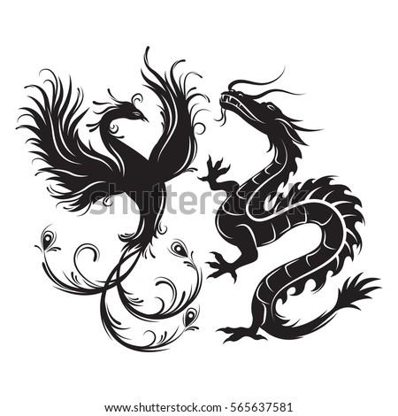 silhouette of phoenix bird and