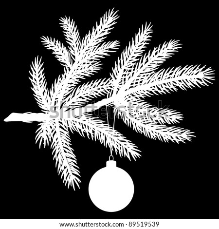 Silhouette of Pine Tree Branch with Christmas Ball on Black Background. Vector Illustration