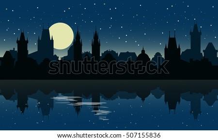 silhouette of prague at night