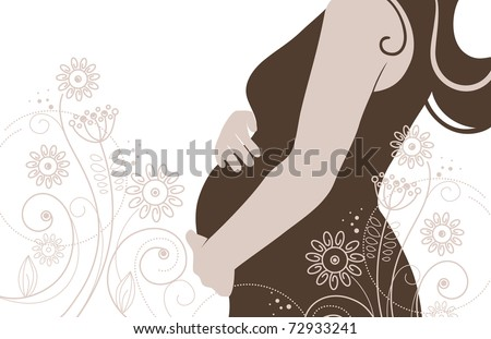Silhouette of pregnant woman in flowers