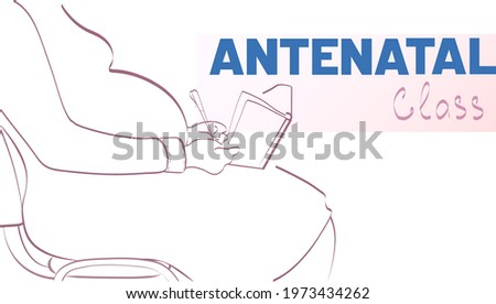 Silhouette of pregnant woman with notepad in antenatal class. Stock photo ©