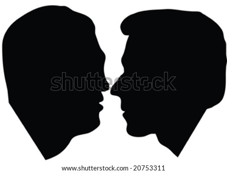 silhouette of profile two man