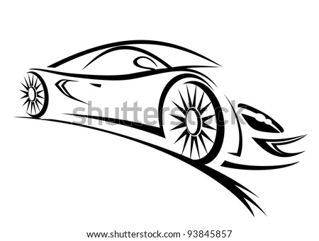 silhouette of racing car for