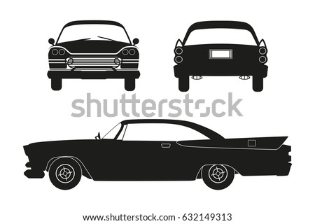 Silhouette Of Retro Car Vintage Cabriolet Front Side And Back View Vector