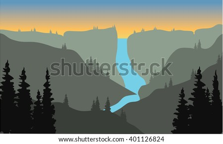 silhouette of river from the