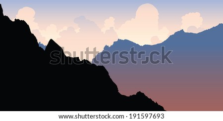 silhouette of rocky mountain