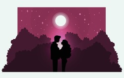 Silhouette of romantic couple lover look each other under the pink moonlight in vacation. Concept Love destiny and Valentine's day.  Illustration vector.