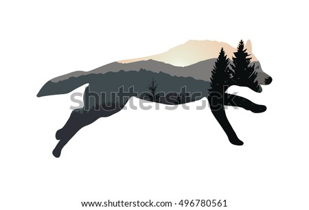 silhouette of running wolf with