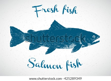 silhouette of salmon in the