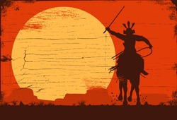 Silhouette of samurai riding horse at sunset, Vector Illustration