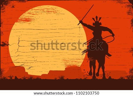 silhouette of samurai riding