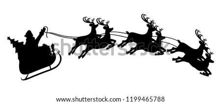 Silhouette of santa claus on sleigh full of gifts and his reindeers. Happy new year decoration. Merry christmas holiday. New year and xmas celebration. Vector illustration in flat style