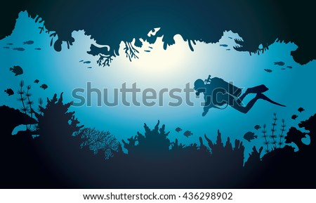 silhouette of scuba diver and