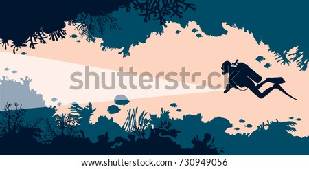 Silhouette of scuba diver and underwater cave with corals and fishes. Vector illustration. Sea wildlife.