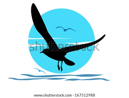 silhouette of seagull on sea