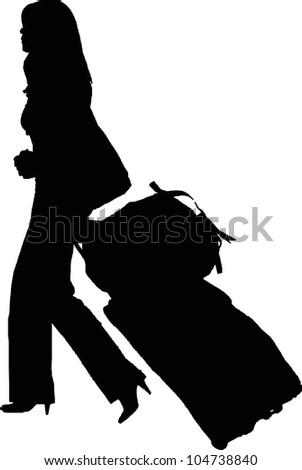 silhouette of sexy girl carrying trolley - isolated vector illustration