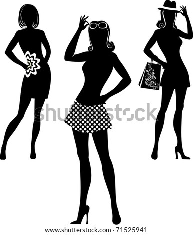 silhouette of shopping women