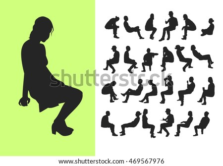 Silhouette of sitting people, side view