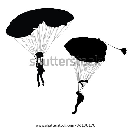 silhouette of skydiver before