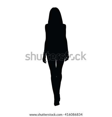 Shutterstock Silhouette of slim tall woman. Front view. Vector silhouette of sexy girl. Catwalk. Long legs, shoes on high heels