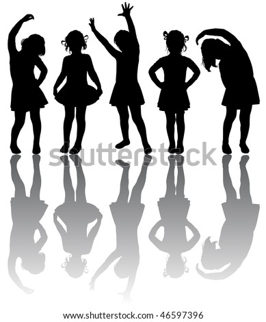 Silhouette of small girls engaged in aerobics