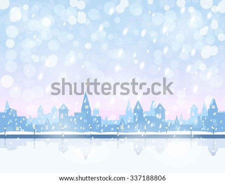 silhouette of snowing  winter