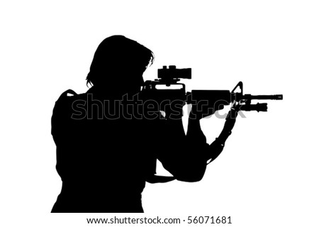 silhouette of soldier aiming
