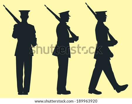 silhouette of soldier in the