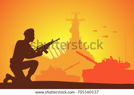 silhouette of soldier on the