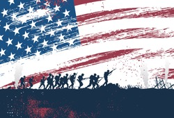 Silhouette of soldiers fighting at war with American flag as a background, vector