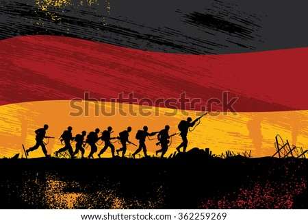 silhouette of soldiers fighting