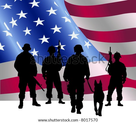 Silhouette of soldiers in front of the American Flag