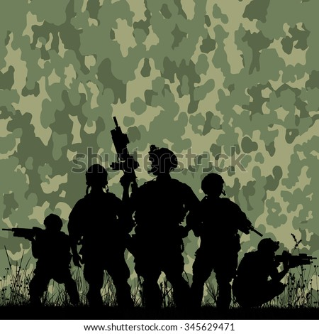 silhouette of soldiers with