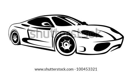 silhouette of sport car for