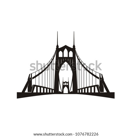 Silhouette of St. Johns Bridge at Portland Oregon