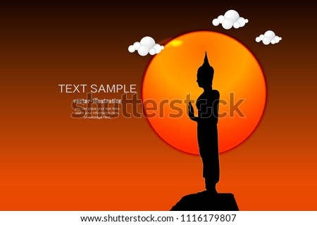 silhouette of stand buddha on